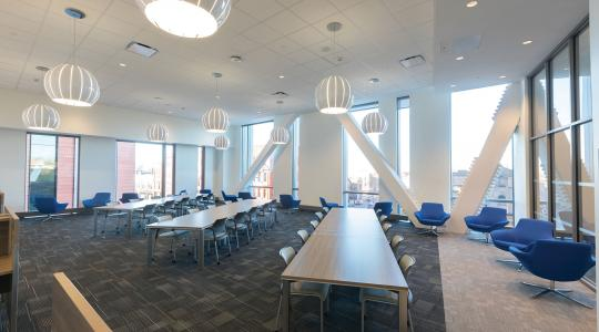 The classroom area sits on a raised floor so UB can change the layout as needed.