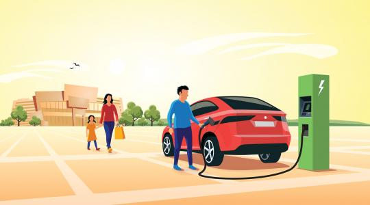 An illustration of a man charging his electric vehicle in a parking lot, with his family walking toward him