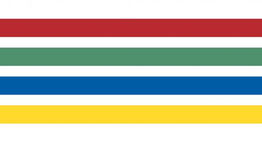 4 parallel lines, colored (top to bottom) red, green, blue and yellow