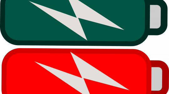 Illustration of 2 batteries, one red and one green