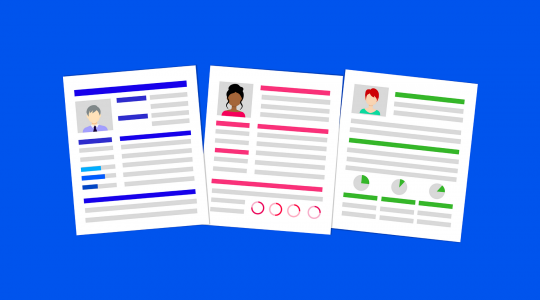 Illustration of 3 resumes against a plain blue background