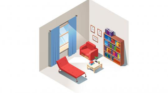 Illustration of a psychiatrist's office with a red chair, red setee, bookshelf, and a window with blue curtains