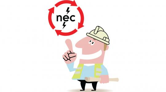 "Illustration of a man in a hard hat and yellow safety vest, pointing up at a circle made of arrows surrounding ""NEC"" 