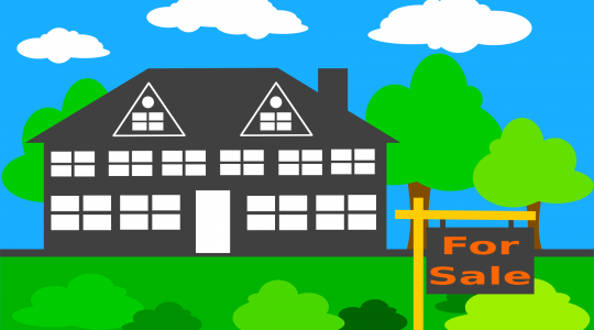 "Bright-colored graphic showing a house surrounded by lawn, shrubs, and trees out front and trees, with a ""For Sale"" sign out front"