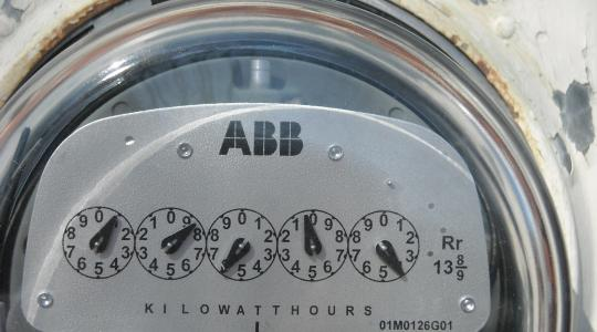 Close-up of an electricity usage meter