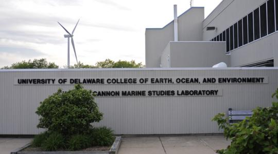 The wind turbine at the University of Delaware. Photo courtesy of the University of Delaware.