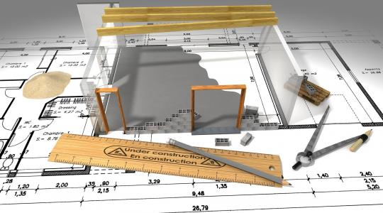 Building plans with 3-D rendering