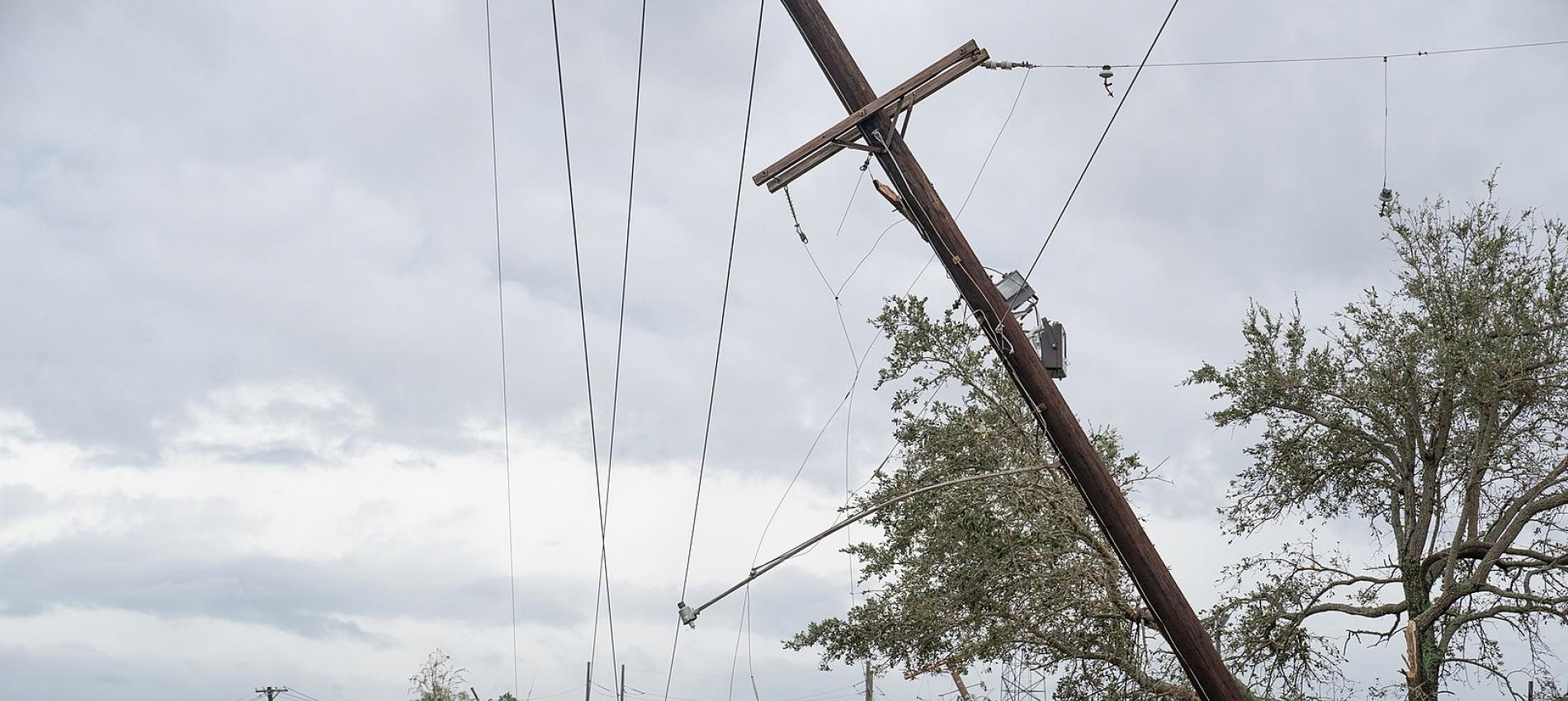 Downed power lines caused by Hurricane Laura