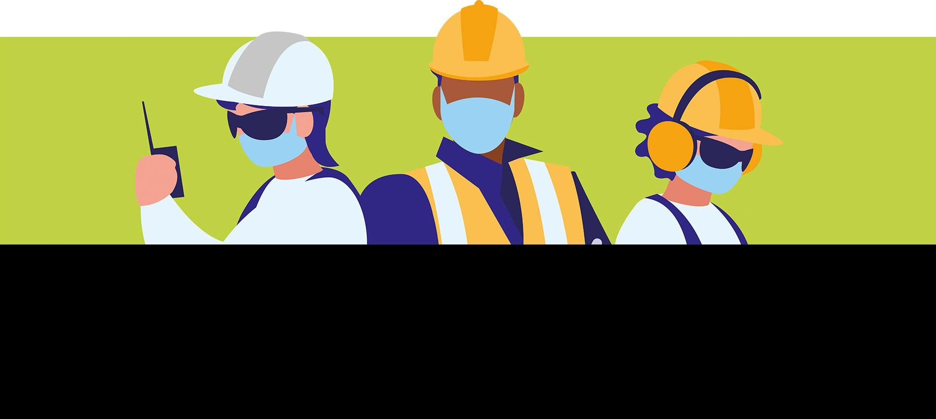 Illustration of 3 workers in PPE