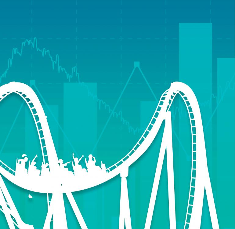 Illustration of a roller coaster against a blue-green cityscape